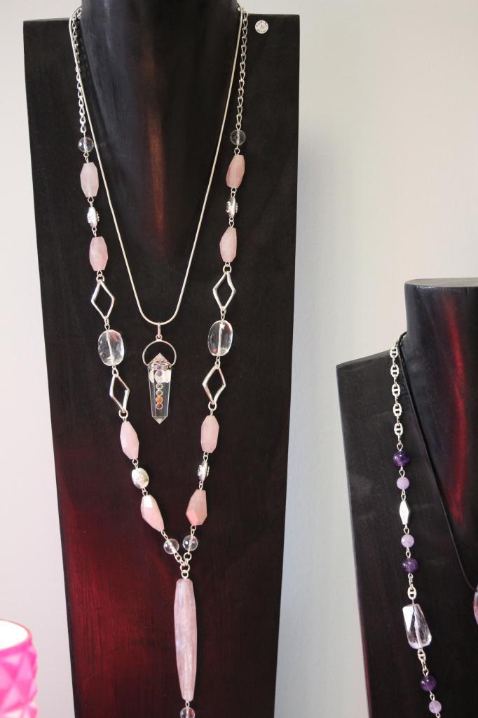 Sautoir quartz rose et cristal de roche