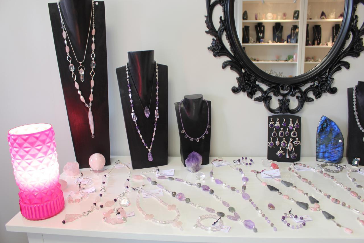 Bijoux quartz rose, améthyste, rhodochrosite